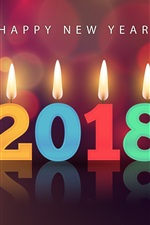 Happy New Year 2018, colorful candles, flame