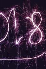 Feliz Ano Novo 2018, fogos de artifício, fundo preto