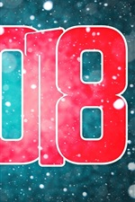 Preview iPhone wallpaper Happy New Year 2018, red, snowy