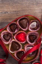 Preview iPhone wallpaper Happy Valentine's Day, gift, sweet chocolate candy, romantic, love heart