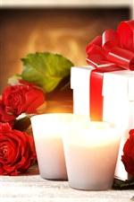 Feliz Dia dos Namorados, rosas vermelhas, velas, presentes
