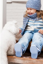 Preview iPhone wallpaper Happy little girl and white dog