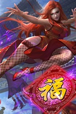 Preview iPhone wallpaper Heroes of Newerth, red hair Chinese girl