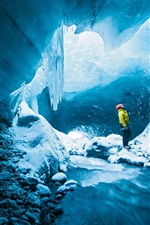Preview iPhone wallpaper Ice cave, man, adventure