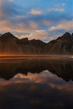 Iceland, mountains, sea, clouds, sunset, water reflection