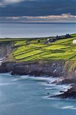 iPhone fondos de pantalla Irlanda, Condado de Kerry, mar, casa, pendiente, campos