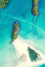 Preview iPhone wallpaper Islands, sea, boats, top view