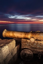 Preview iPhone wallpaper Italy, Puglia, Monopoli town, artillery, night