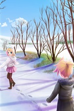 Preview iPhone wallpaper Joy anime girls walk in the winter path, snow, trees