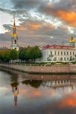 Preview iPhone wallpaper Kryukov canal, Saint Petersburg, houses, clouds, Russia