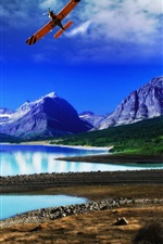 Preview iPhone wallpaper Lake, mountains, forest, coast, blue sky, plane