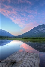 Preview iPhone wallpaper Lake, mountains, pier, ladder, dusk, water reflection