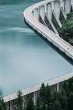 Preview iPhone wallpaper Lake, water, dam, road