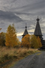 Leningrad oblast, village, church, trees, path, clouds, dusk, Russia