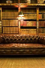 Library, interior, books, warm light