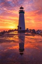 iPhone fondos de pantalla Faro, puesta de sol, nubes, cielo rojo