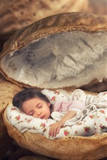 Preview iPhone wallpaper Little girls sleep in a peanuts, creative design