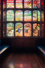 Preview iPhone wallpaper London, England, window, stained glass, bench