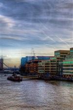 Preview iPhone wallpaper London, Thames River, boats, bridge, city, buildings, dusk