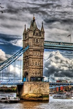 Preview iPhone wallpaper London, Tower Bridge, cloudy sky, river, city