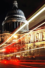 Preview iPhone wallpaper London, city night, road, light lines, bus, buildings