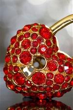 Love heart lock, diamond decoration