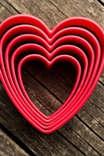 Love hearts, wood background
