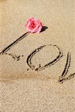 Preview iPhone wallpaper Love, text, beach, sea, sands
