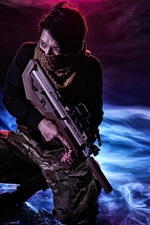 Preview iPhone wallpaper Man use auto-rifle, weapon