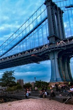 Preview iPhone wallpaper Manhattan, New York, bridge, river, people, dusk, clouds, blue sky, USA