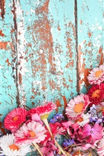 Preview iPhone wallpaper Many flowers, pink and white chrysanthemum, wood board