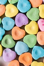 Preview iPhone wallpaper Many love heart candy, rainbow colors