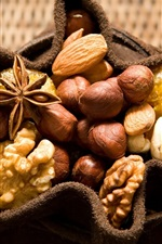 Many nuts, cinnamon, walnut, sack