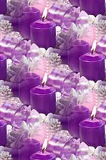 Many purple candles, flame, fire