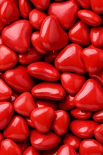 Preview iPhone wallpaper Many red love heart shaped candy