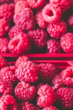 Preview iPhone wallpaper Many red raspberry, delicious fruit