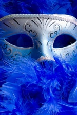 Preview iPhone wallpaper Mask, blue feathers