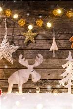 Vorschau des iPhone Hintergrundbilder Frohe Weihnachten, Dekoration, Baum, Hirsch, Lichter, Geschenke