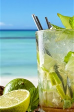 Preview iPhone wallpaper Mojito, lime, mint, cold drinks, cocktail, sea