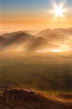 Preview iPhone wallpaper Morning, hills, sunrise, fog, people