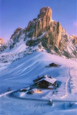Preview iPhone wallpaper Mountain, snow, houses, winter, path