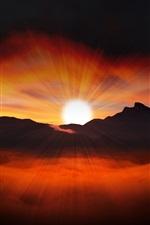 Mountains, beautiful sunrise, sun rays