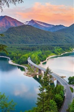 Preview iPhone wallpaper Mountains, bridge, river, forest, summer