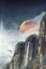 Preview iPhone wallpaper Mountains, forest, gorge, planet, waterfall, creative design