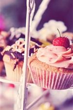 iPhone壁紙のプレビュー マフィン、ケーキ、クリーム、イチゴ、チョコレート