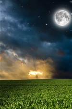 Preview iPhone wallpaper Nature, fields, clouds, moon, stars, night