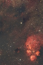iPhone обои Туманность, пространство, звезды, красный стиль