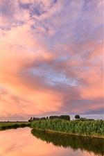 Preview iPhone wallpaper Netherlands, fields, river, clouds, dusk, sunset