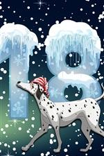 Ano Novo de 2018, cachorro, inverno, neve