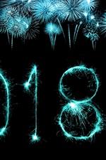 Ano novo de 2018 fogos de artifício, noite, céu